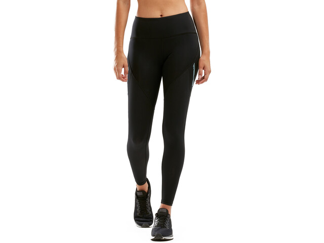 2XU Mid Rise Dash Line Pantaloni Donna, black/bluejay reflective